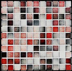 モザイクタイル シート 25角 フォーラム FM51 磁器 赤 黒 白ミックスデザイン おしゃれ アンティーク レトロモダン キッチン 玄関 テーブル 浴室 風呂 洗面所 DIY リフォームに 床 壁 インテリア 建材 日本製 美濃焼 耐熱