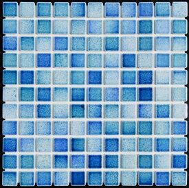 モザイクタイル シート 25角 フォーラム FM53 磁器 青ミックスデザイン ミックスデザインタイル おしゃれ アンティーク レトロモダン風 キッチン 玄関 テーブル 浴室 風呂 洗面所 DIY リフォーム 床 壁建材 日本製 美濃焼 耐熱