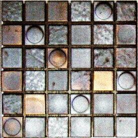 50角 Zipang 壁用 モザイクタイル シート(36粒)販売 メタリック・シルバー銀 アンティーク調 磁器タイル内壁、(キッチン カウンター・トイレ・リビング)・店舗、内装のDIYリフォーム・リノベーションにお勧め。和風金属質ミックスデザイン インテリア建材です