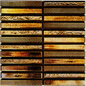 ボーダー Zipang 壁用 モザイクタイル シート(24粒)販売 メタリック・ゴールド金 アンティーク調 磁器タイル内壁、(キッチン カウンター・トイレ・リビング)・店舗、内装のDIYリフォーム・リノベーションにお勧め。和風金属質ミックスデザイン インテリア建材