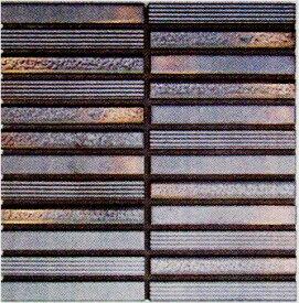 ボーダー Zipang 壁用 モザイクタイル シート(24粒)販売 メタリック・シルバー銀 アンティーク調 磁器タイル内壁、(キッチン カウンター・トイレ・リビング)・店舗、内装のDIYリフォーム・リノベーションにお勧め。和風金属質ミックスデザイン インテリア建材