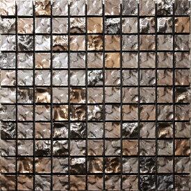 25角岩面 メタリックレジア ブラックゴールド色 1シート(121粒)単位の販売 25x25x8mm磁器質 モザイクタイル(内装壁、店舗・キッチン等にお勧め)
