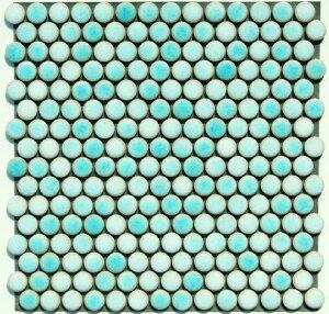 丸 モザイクタイル シート 磁器 19mm かわいい 緑 グリーン アンテイーク ミックスデザイン。キッチン カウンター お風呂 浴室 浴槽 床 壁 洗面台 玄関 テーブル トイレをDIYで、おしゃれにリ