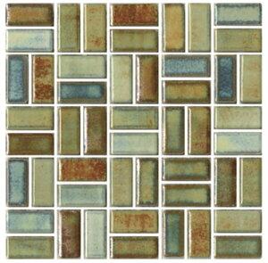 チロル シート販売(バスケットウェーブ貼り) 濃ミックス。内装壁のDIYに(200粒)おしゃれなデザイン、かわいい色と模様 レトロモダン風。キッチン・玄関・テーブル・洗面所のリフォーム