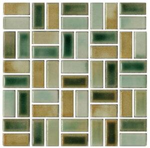 チロル シート販売(バスケットウェーブ貼り) 緑黄。内装壁のDIYに(200粒)おしゃれなデザイン、かわいい色と模様 レトロモダン風。キッチン・玄関・テーブル・洗面所のリフォームにOK。