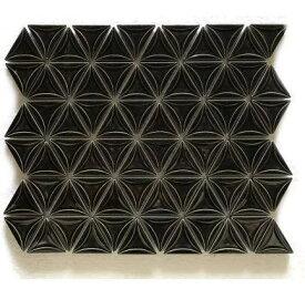 三角モザイクタイル シート販売 ブラック。内装壁のDIYに(72粒)おしゃれなデザイン、かわいい色と模様 円形 花模様 レトロモダン風。キッチン・玄関・テーブル・洗面所のリフォームにOK。壁建材・日本製・磁器質・美濃焼・耐凍害