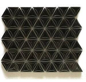 三角モザイクタイル シート販売 ブラック。内装壁のDIYに(72粒)おしゃれなデザイン、かわいい色と模様 円形 花模様 レトロモダン風。キッチン・玄関・テーブル・洗面所のリフォーム