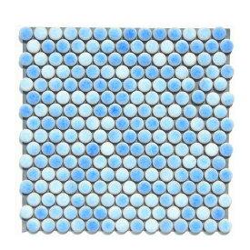 丸 モザイクタイル シート 磁器 19mm かわいい 水色 アンテイーク ミックスデザイン。キッチン カウンター お風呂 浴室 浴槽 床 壁 洗面台 玄関 テーブル トイレをDIYで、おしゃれにリフォーム。陶器 耐熱 耐水 耐火 美濃焼 インテリア
