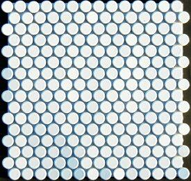 モザイク タイル 19mm丸 白マット色 艶なし 磁器質  シート販売。ミックスデザインタイル対応、おしゃれなレトロモダン風。リビング・玄関・テーブル等のDIYリフォームにOK。インテリア建材・日本製・美濃焼モザイクタイルです。