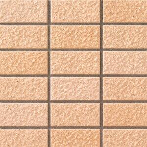 45二丁 モザイクタイル シート(18粒)単位の販売 オレンジベージュミックス色系 横筋面 磁器質 外装 壁材・キッチンなどのDIYリフォームに。マンション・アパートなどの建材としてOK。激安