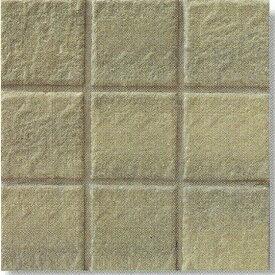 ソフトーン 100角 黄土色 岩面 磁器タイル シート(9枚)単位の販売(内・外床、玄関、浴室、ポーチ・ガーデニング・エントランスのDIYリフォームにお勧め)