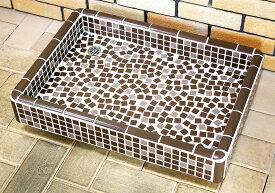 ガーデンシンク タイル 流し台 昭和レトロ 大型ガーデンパン タイル洗面台 Mサイズ 0206 ブラウン ペットのシャンプに最適です 手作り 懐かしくてレトロ お洒落 エクステリア