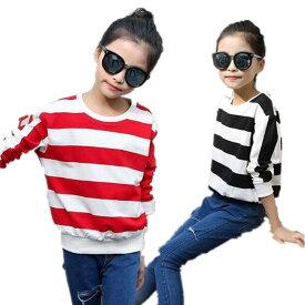 当店3点以上送料無料 新作春秋着 子供服 大人っぽい 女の子 可愛いスタイル トップス Tシャツ パーカー・スウェット 丸首 シャツ 可愛いスタイル Tシャツキッズ ボーダー柄Tシャツ 女の子 スクール ブラック レッド TFL069