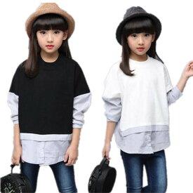 送料無料 春秋着 こども服 女の子 子供服 大人っぽい七五三 長袖 Tシャツ 可愛いスタイルトップス 女の子 カジュアル シャツ ブラウス 子供服 Tシャツ 子供服 ブラック ホワイトTFL062