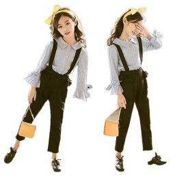 韓国こども服 春秋着 学生 セットアップ 子供服 上下2点セット長袖 ボーダー柄 Tシャツ トップス+ オーバーオール 女の子 可愛いスタイル 韓国 子供服 Tシャツ+ つりズボン 2点セット キッズ 子供服 TFL555