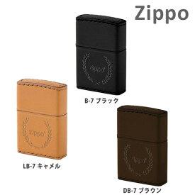 Zippo ライター ジッポー 革巻き 月桂樹 LB-7 キャメル B-7 ブラック DB-7 ブラウン 手縫い 牛革 本革 レザー ZIPPO ジッポ ライター