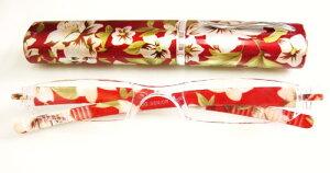 花柄ペンケース携帯メガネ(赤)(携帯老眼鏡)
