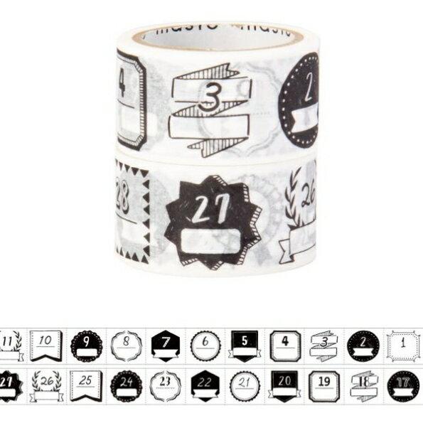 MARKS マークス シール マスキングテープ ・ 水性ペンで書けるマスキングテープ ミシン目入り 手帳デコ2巻セット マステ マスキングテープ 幅広 白 カッター 黒 グレー 収納 福袋 スケジュール帳 手帳のタイムキーパー