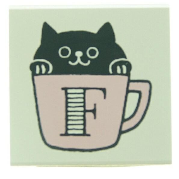 KODOMONOKAO こどものかお スタンプ ・ もりのはんこ イニシャルC F 黒猫 スタンプ台 オーダー キャラクター かわいい 手帳 印鑑 ハンコ スケジュール帳 手帳のタイムキーパー