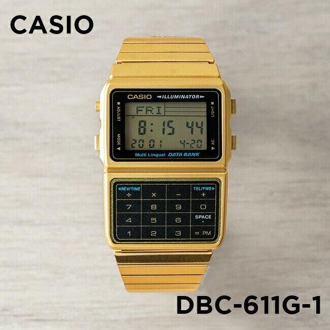 【並行輸入品】CASIO DATA BANK カシオ データバンク DBC-611G-1 腕時計 メンズ レディース デジタル ゴールド 金 ブラック 黒