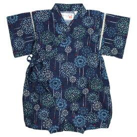 甚平 ベビー 男の子 ロンパース 赤ちゃん 綿100% 日本製生地 花火柄 カバーオール 甚平グレコ 部屋着 寝まき パジャマ 70cm 80cm