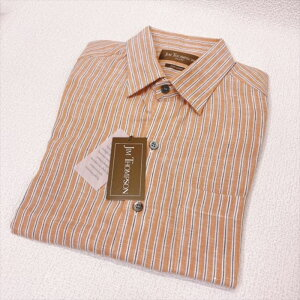JIM THOMPSON ジムトンプソンメンズシャツ麻100% Mサイズ オレンジストライプ