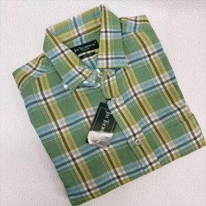 JIM THOMPSON ジムトンプソンメンズシャツ麻100% 長袖 Lサイズ グリーンチェック送料無料