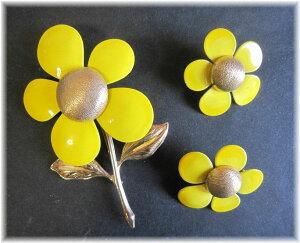 SARAH COV サラコベントリー イエローエナメルのお花のブローチとイヤリング