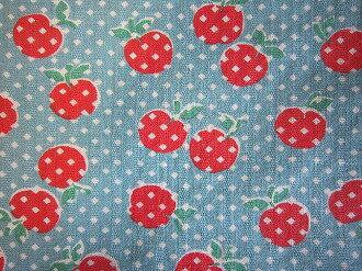 フィードサック  ブルー地赤いアップル (1/16サイズ)