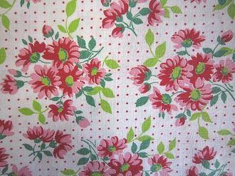 フィードサック 白地赤ピンクお花と赤ドット (1/16サイズ)