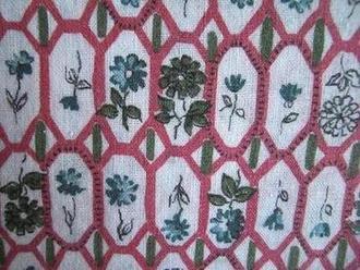 フィードサック 白地赤枠に小花(1/4サイズ)
