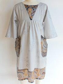 NIXIE CLOTHING ニクシークロージングヨーク切り替え 七分袖ドレス《6才 シルバーグレー》