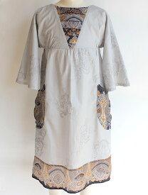NIXIE CLOTHING ニクシークロージングヨーク切り替え 七分袖ドレス《8才 シルバーグレー》