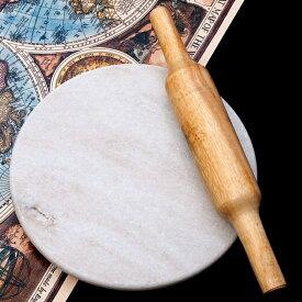 チャパティ用の台と麺棒のセット 白 / のし台 こね台 石製 チャクラ ベランチャパティ インド 調理器具 食器 アジアン食品 エスニック食材
