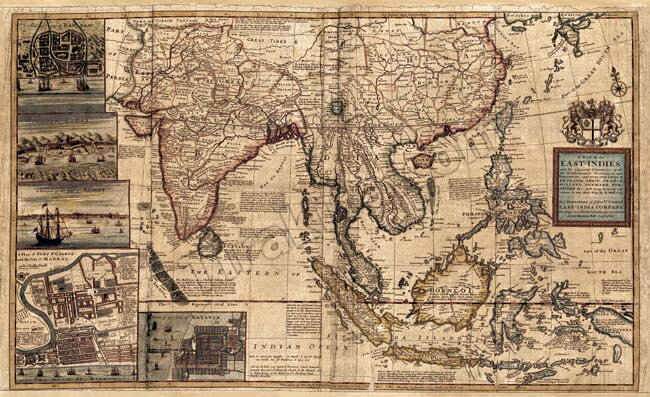 【18世紀】アンティーク地図ポスター A MAP OF EAST INDIES 【南アジア・東アジア・東南アジア周辺】 / 古地図 世界地図 あす楽
