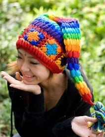 カラフルおもしろニット帽 / ウール 帽子 ハット ネパール 耳あて エスニック衣料 アジアンファッション エスニックファッション