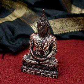 【仏像】 手彫り模様のブッダ像 16.3cm / レジン 神様 ヒンドゥー教 仏教 置物 仏陀 釈迦 インド エスニック アジア 雑貨