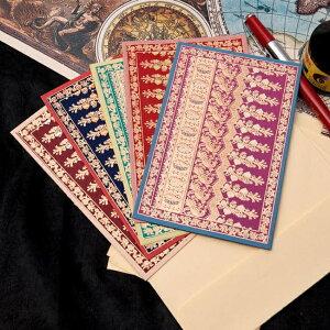インドのレターセット NOOR / プレゼント 手紙 ポストカード 封筒 チマンラール Chimanlals 便箋 メッセージカード エスニック アジア 雑貨