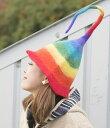 【おもしろ 帽子】 ヒマラヤ星人のチューリップ帽 【レインボーハット】 / 個性的 カラフル コットン アジア アジアン…
