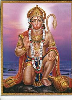 [About 30 cm x 23.3 cm] India Hindu God poster - Hanuman books printed stickers postcards