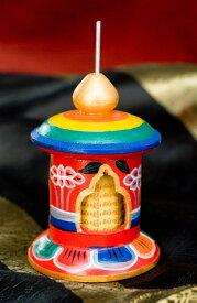 カラフル卓上ミニマニ車 横幅6cmx高さ8.5cm / ぐるぐる 経典 まわる ネパール 仏教 アジア チベタン エスニック インド 雑貨