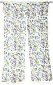 インドのコットンのれん【花柄】 青&紫&黄色系 / カーテン アジア エスニック 布 ファブリック