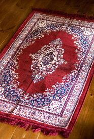 インドのエスニック絨毯 ロング【約110cm×約68cm】 赤 / コットン ラグ マット キリム アジアン 雑貨