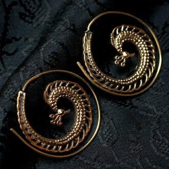 孔雀圖案螺旋耳環民族亞洲印度配件腳鏈環痣,傳統