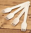 【フォーク 使い捨て】 木製エコ・フォーク 16cm 100本セット / スプーン 食器 カトラリー アジア 箸置き エスニック …