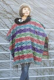 【送料無料】 ドットパターンのふわふわポンチョ / メンズ フリーサイズ レディース 秋 冬 ドット柄 セーター エスニック ネパール アジア エスニック衣料 アジアンファッション エスニックファッション