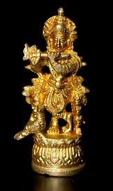 【仏像】 ブラス製 孔雀と笛を吹くクリシュナ〔8.2cm〕 / 聖牛 ナンディン ヒンドゥー 神様像 インド 置物 エスニック アジア 雑貨
