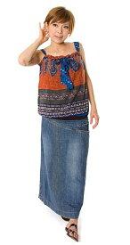 コットンペイズリーキャミソール オレンジ×白   エスニック アジアン 女性 袖なし トップス 衣料 服 ファッション インド