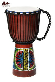 ハンドペイント・トライバル・ジャンベ (高さ 50cm 直径 25cm程度) / 西アフリカ 打楽器 バリ 民族楽器 送料無料 レビューでタイカレープレゼント あす楽