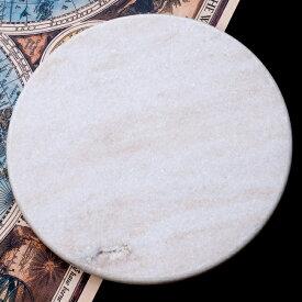 チャパティ用の台 マーブル製 白系 [直径:約25cm 高さ:約2.5cm] / のし台 こね台 石製 チャクラ ベラン インド 調理器具 食器 アジアン食品 エスニック食材
